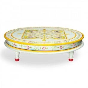 Boutique Camping Hand Painted Indian Bajot Round Table Aqua Yellow
