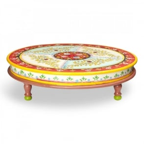 Boutique Camping Hand Painted Indian Bajot Round Table Red Aqua