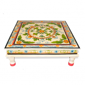 Hand Painted Indian Bajot Table Aqua