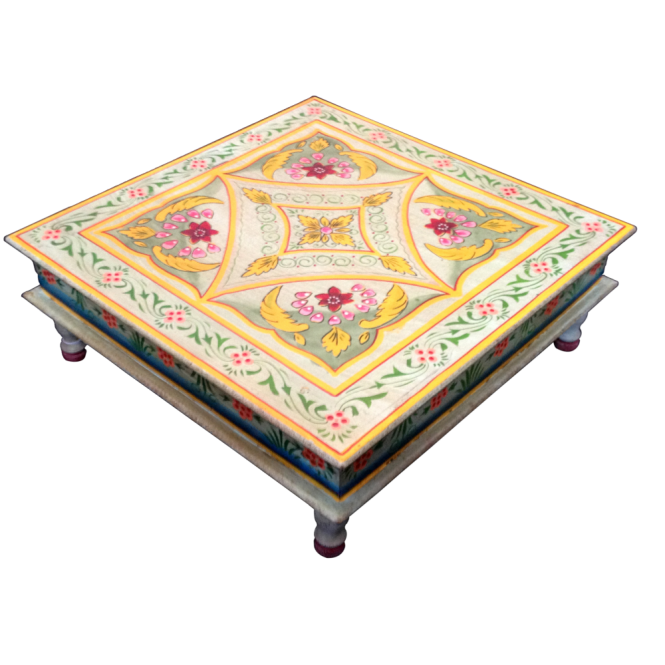 Hand Painted Indian Bajot Table Aqua Yellow