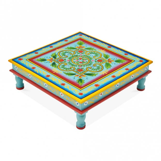 Hand Painted Indian Bajot Table Green Aqua