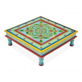 Boutique Camping Hand Painted Indian Bajot Table Green Aqua