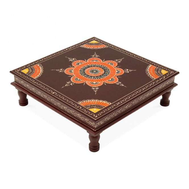 Hand Painted Indian Bajot Table Maroon Orange