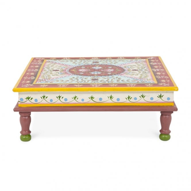 Hand Painted Indian Bajot Table Red Aqua