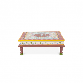 Boutique Camping Hand Painted Indian Bajot Table Red Aqua