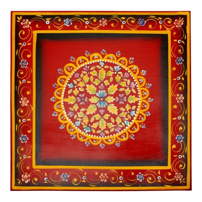 Hand Painted Indian Bajot Table Red Blue