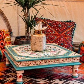 Boutique Camping Hand Painted Square Bajot Table