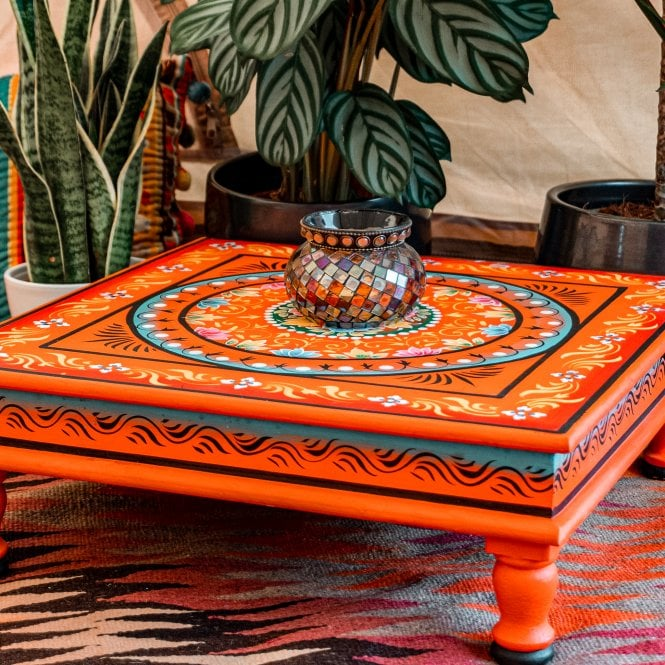 Hand Painted Square Bajot Table