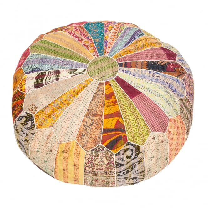 Kali Saree Design Patchwork Pouf