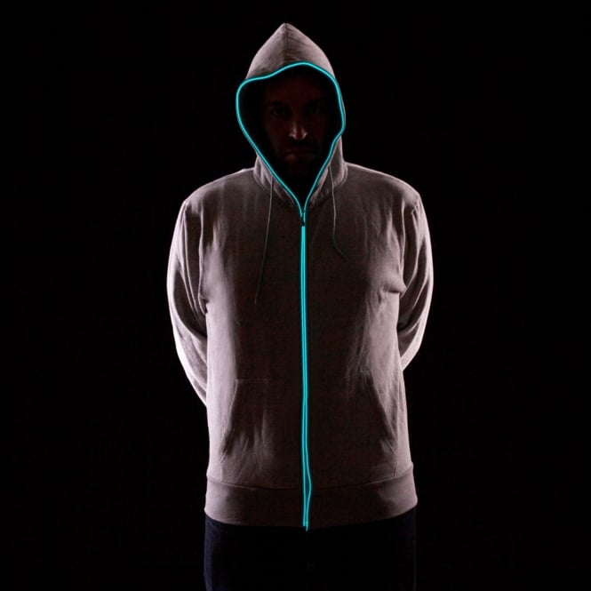 Light up Hoodies - Grey with Blue Neon