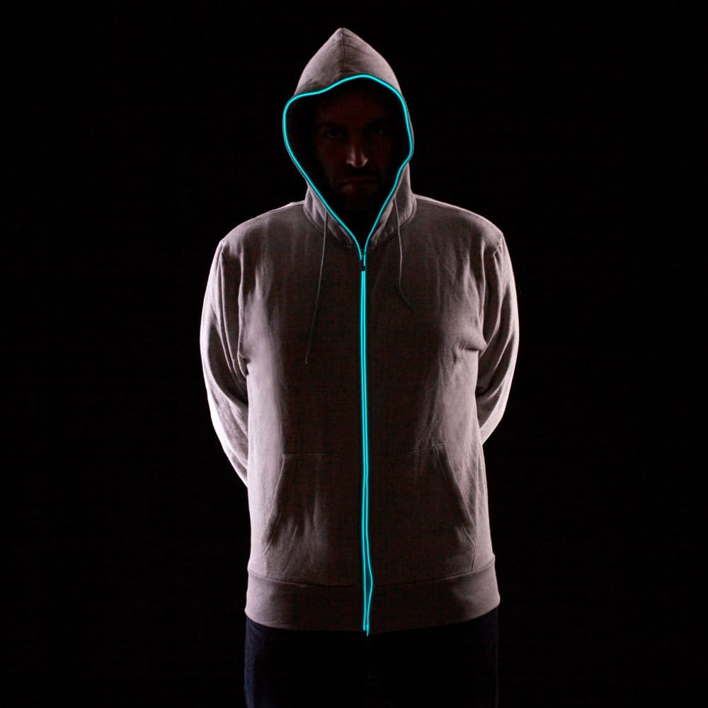Light Up Hoodies Grey With Blue Neon