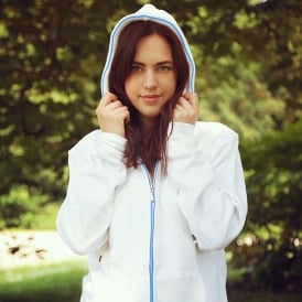 Light Up Hoodies - White with Blue Neon