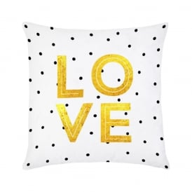 Boutique Camping Love Cushion - Gold & White