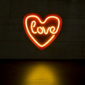 Love Heart LED Neon Sign Light - White