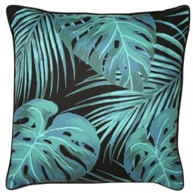 Malini Palm Print Fabric Cushion, Black And Green