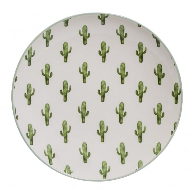 Mini Cactus Motif Ceramic Dinner Plate, Green