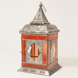 Boutique Camping Moroccan Glass and Iron Lantern Orange
