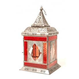 Moroccan Glass and Iron Lantern Red
