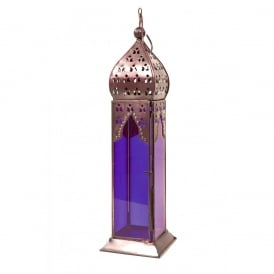 Moroccan Long Glass Lantern Blue