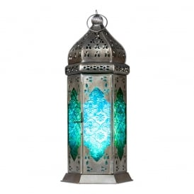 Moroccan Long Glass Lantern Green/Blue