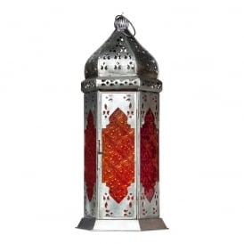 Moroccan Long Glass Lantern Orange/Red