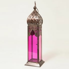 Moroccan Long Glass Lantern Pink