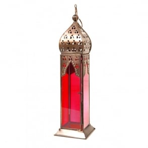 Boutique Camping Moroccan Long Glass Lantern Red
