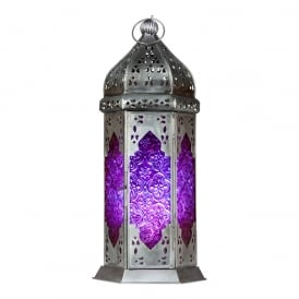 Boutique Camping Morrocan Lantern - Purple/Pink