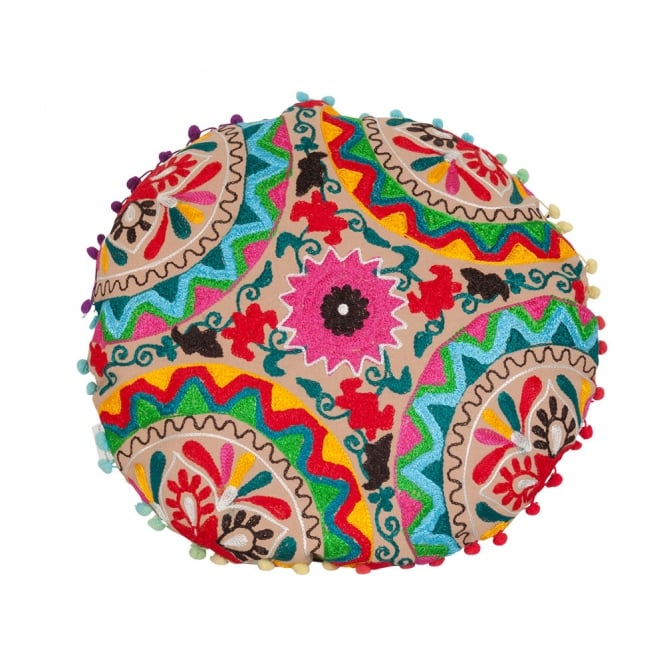 Multicoloured Embroidered Floor Cushion