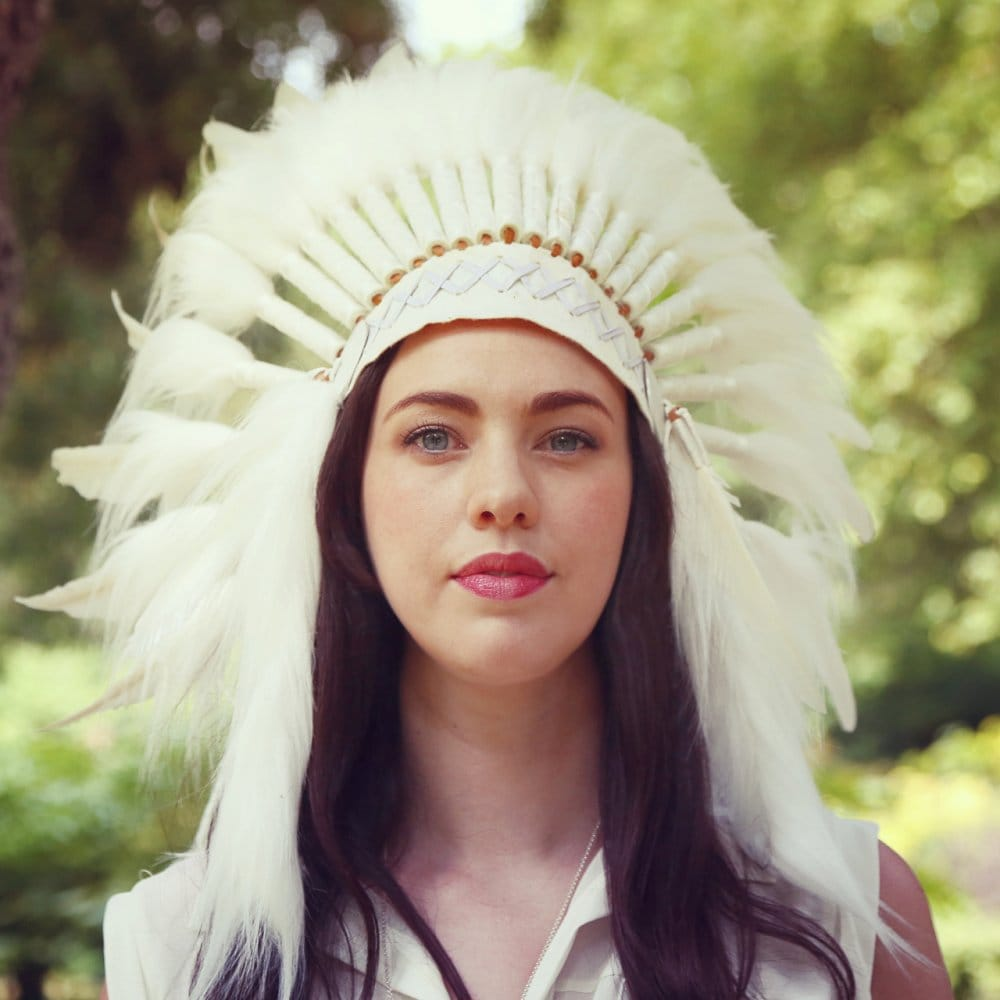 Native American Indian War Headdress All White Feather