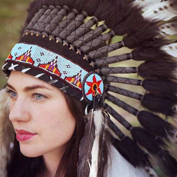 Native American Indian War Headdress Black With Spot Feather