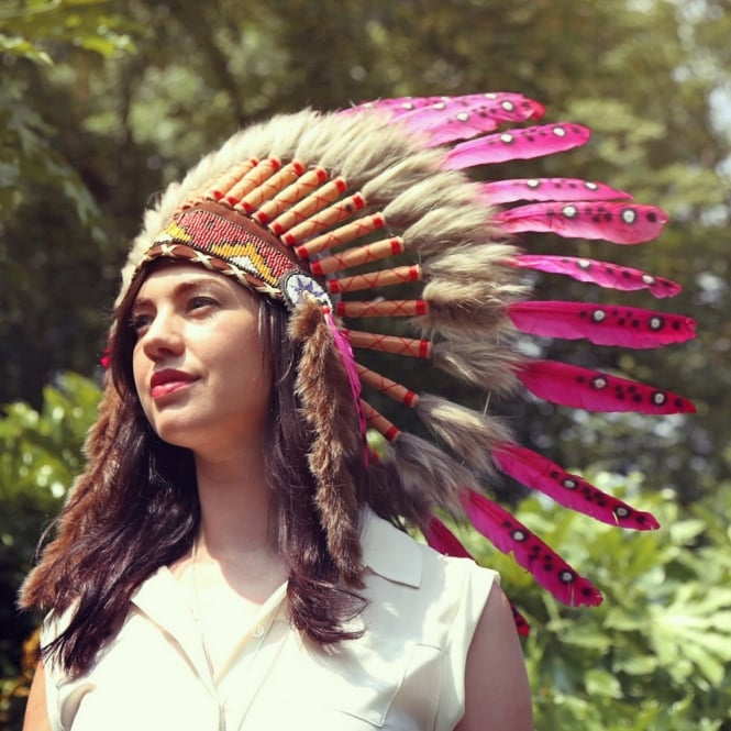 Native American Indian War Headdress - Brown Fur Pink