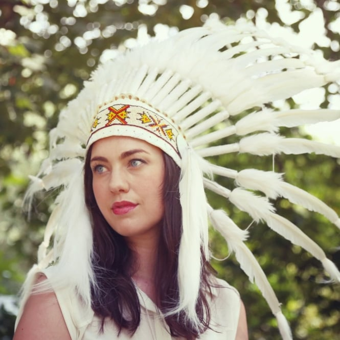 Native American Indian War Headdress - Coloured band and White