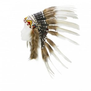 Boutique Camping Native American Indian War Headdress - Coloured band with White/Brown