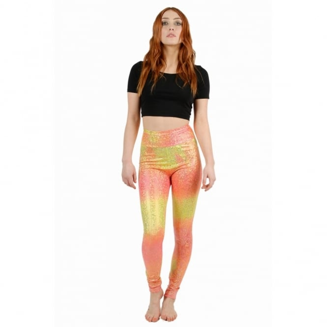 Ombre Peach Disco Mermaid Leggings
