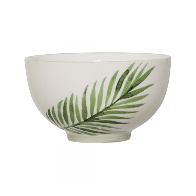 Palm Leaf Ceramic Bowl