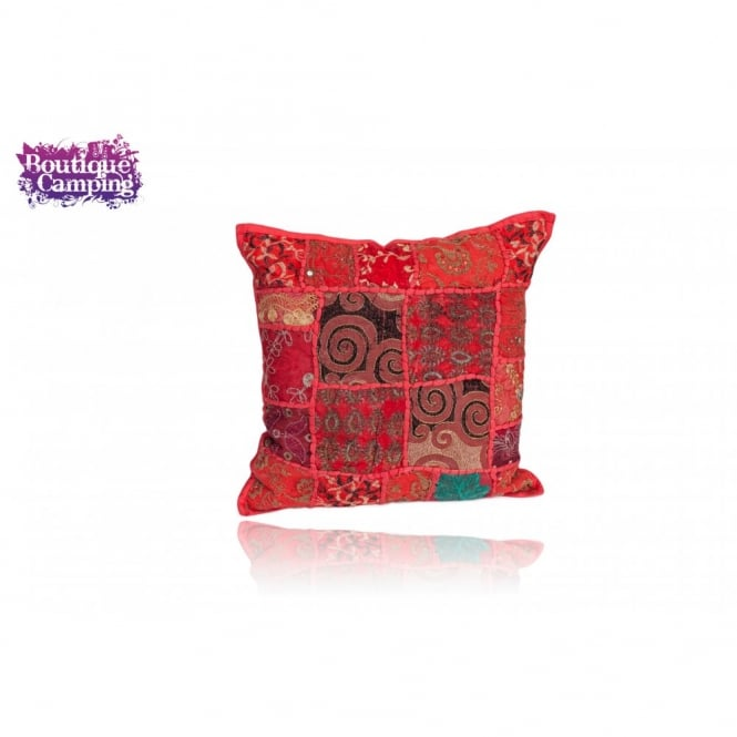 Patchwork Indian Cushions - Red