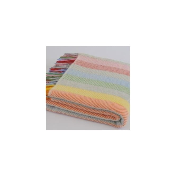 Pure New Wool Stripe Throw - Rainbow Grey
