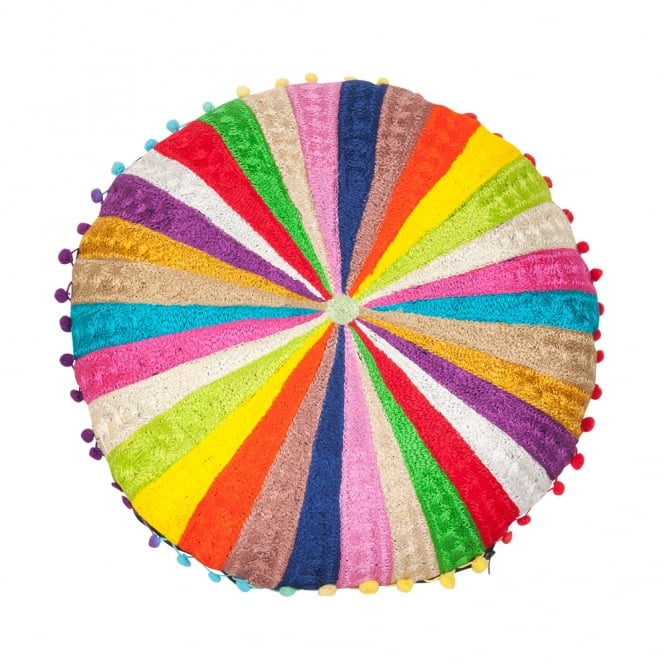 Rainbow Striped Pom Pom Floor Cushion