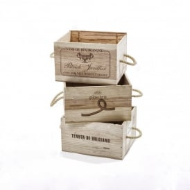 Recycled Wine Box with Rope Handles