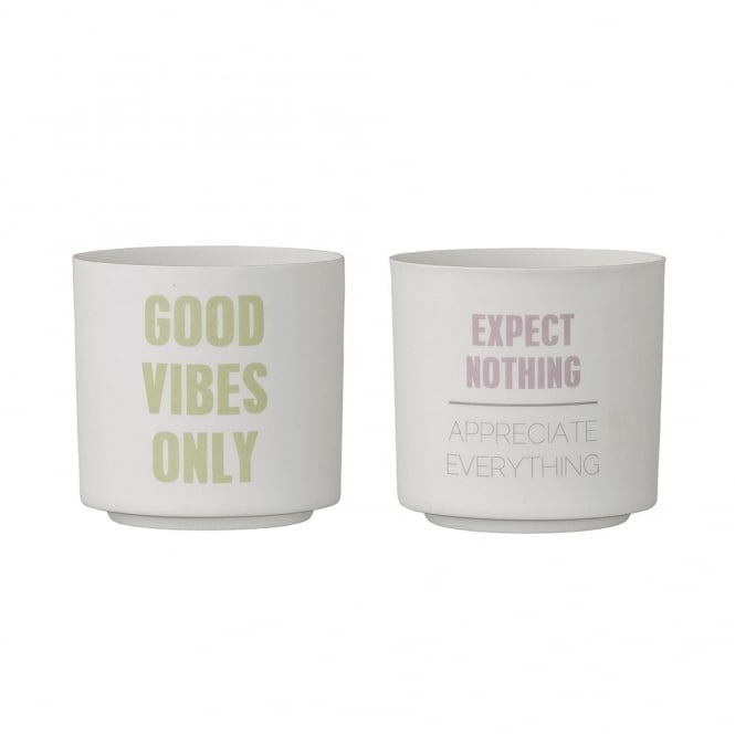 Set of 2 Candle Votive Pots, Good Vibes