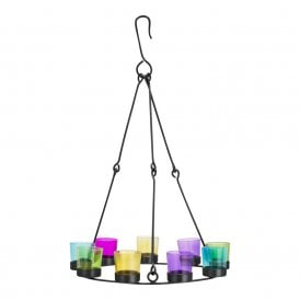 Boutique Camping Single Tier Chandelier - Black Frame - MultiColoured Glass Holders