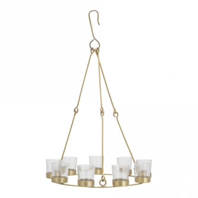 Single Tier Chandelier - Brass Frame - Clear Glass Holders