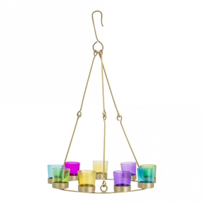 Single Tier Chandelier - Brass Frame - Multicoloured Glass Holders