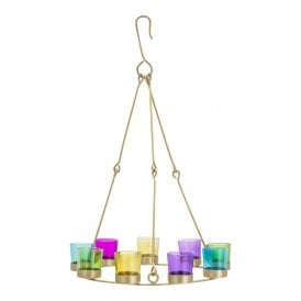 Boutique Camping Single Tier Chandelier - Brass Frame - Multicoloured Glass Holders