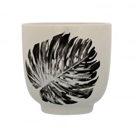 Sooji Palm Print Ceramic Tumbler, Light Grey