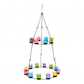 Boutique Camping Tea Light Chandelier - Metal Frame - Glass Holders