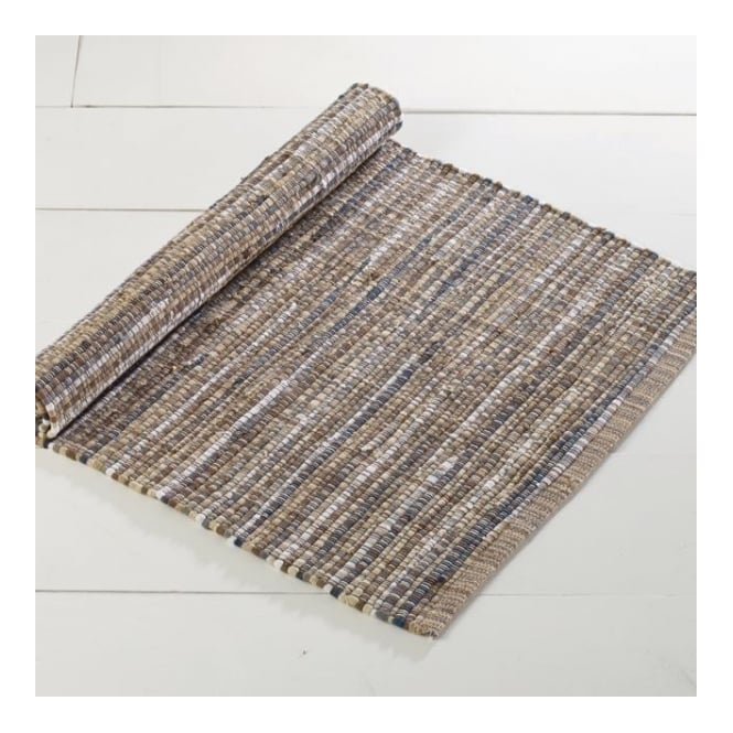 Traditional Indian Rag Rug - Natural Blue