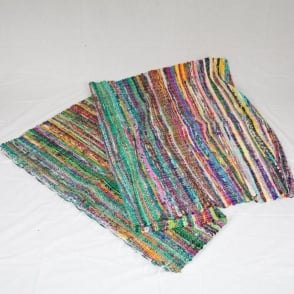 Boutique Camping Traditional Multi Coloured Indian Rag Rug - Green & Blue Tones