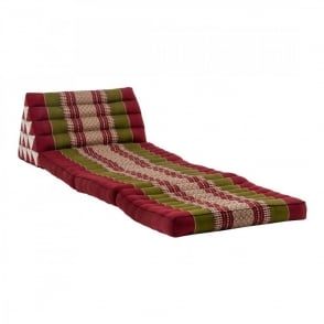 Boutique Camping Triangle Thai Cushion With Three-Fold Mattress - Red/Green